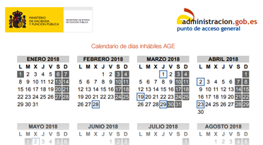 Calendario 3018.Calendario De Dias Inhabiles Calendarios Laborales Y De